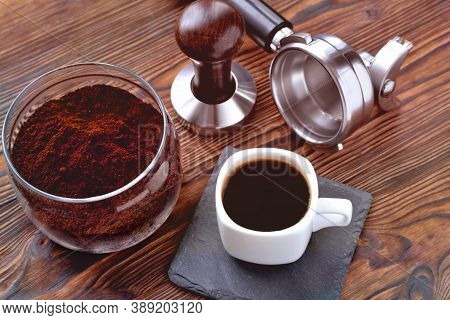 Coffee In A Cup On A Stone Stand, Glass Jar With Coffee And Coffee Accessories Tempera And A Horn Fo
