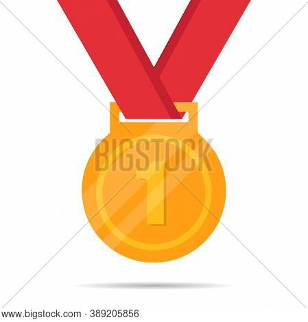Gold Medal Flat Vector Icon Isolated On A White Background. Gold Medal For First Place. Golden Medal