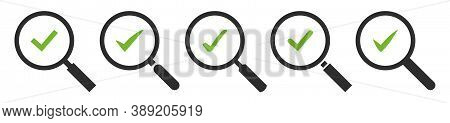 Magnifying Glass And Green Check Mark Vector Icon Set. Magnifier With Green Ok Tick Isolated On Whit