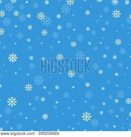 Winter Blue Background With Snowflakes. Christmas Seamless Pattern With Snowflakes. White Transparen