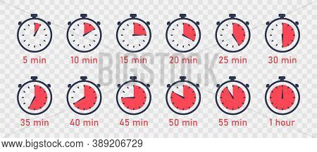 Countdown Timer. Clock, Stopwatch Vector Icons Set. Full Rotation Arrow Timer. Set Of Simple Timers