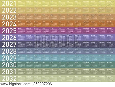 Colorful Calendar For Years 2021, 2022, 2023, 2024, 2025, 2026, 2027, 2028, 2029, 2030, 2031 And 203