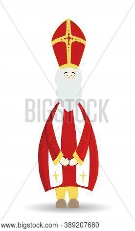 Saint Nicholas, Character Isolated On White Background. Happy Saint Nicholas Day