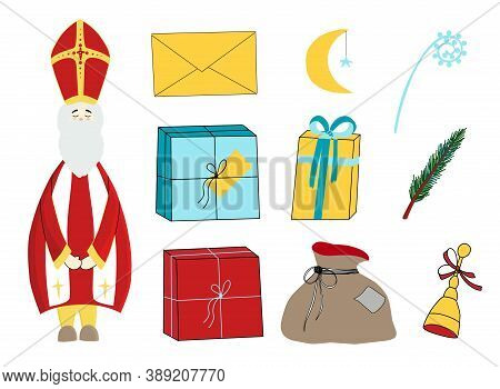 Saint Nicholas, Character Isolated On White Background. Happy Saint Nicholas Day. Elements For The H