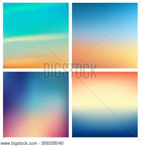 Abstract Vector Multicolored Blurred Background Set 4 Colors Set. Square Blurred Backgrounds Set - S