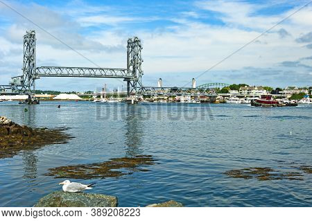 Portsmouth, New Hampshire - August 18, 2019: View Of The Piscataqua River And Memorial Bridge  As Se