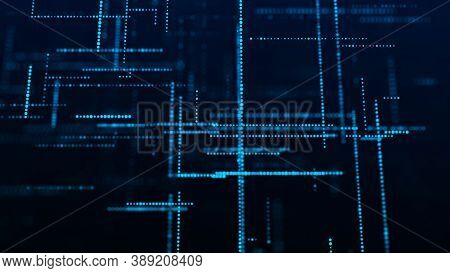 Blockchain Technology Concept. Abstract Digital Background. Big Data Visualization. Technological Ba