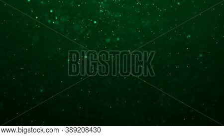 Dust Green Particles. Abstract Background Of Particles. Dots Background. Futuristic Digital Dots Bac