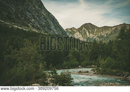 Vel Ferret Or Ferret Valley Italian Alpine Destination. Mountain And The River Sumemr Scenery.