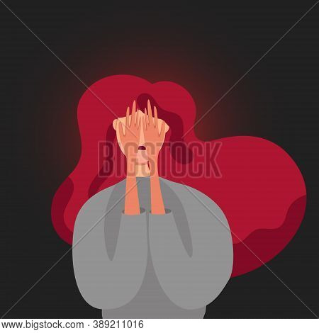 Sad Lonely Woman In Depression Crying Covering Her Face With Her Hands. Depressed Teenager Withdrew