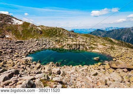 Lac Bleu Lake Near The Mont Blanc Or Monte Bianco Meaning White Mountain, The Highest Mountain In Th