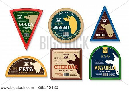 Vector Cheese Labels And Packaging Design Templates. Cow, Sheep And Goat Icons