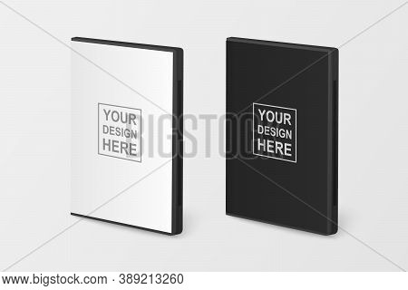 Vector 3d Realistic Blank White And Black Cd, Dvd Plastc Or Paper Cover Case Box Set Closeup Isolate