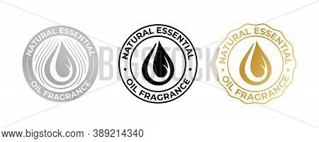 Oil Drop Icon For Natural Essential Fragrance, Vector Cosmetic And Beauty Skincare Quality Sticker.