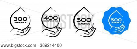 Hand Wash Dispenser Icon, Handwash Liquid Soap Foam And Clean Gel Antiseptic Quantity Sign. Handwash