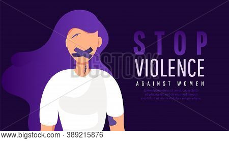 Sad Lonely Woman With Mouth In Adhesive Tape Restrained. Stop Violence Against Women.