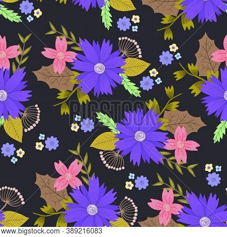 Beautiful Dark Contrast Doodle Seamless Pattern With Purple And Pink Flowers Bouquets With Leaves. C