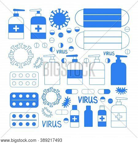 Coronavirus Line Icon Set. Included Icons As Virus, Outbreak, Contagious, Contagion, Infection And M
