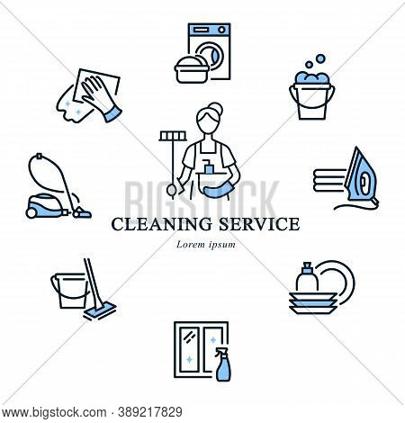 Cleaning Service Circle Banner With Flat Line Icons. In The Center Is A Cleaning Lady Icon.