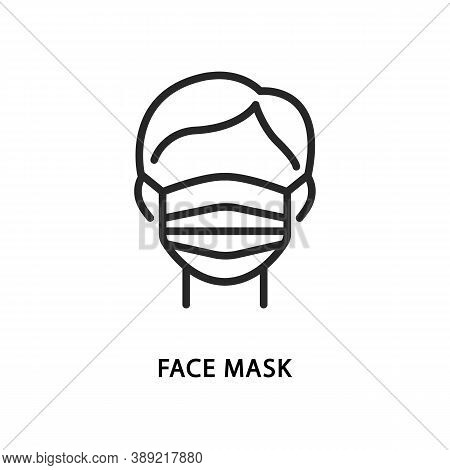 Man Wearing A Protective Medical Mask Flat Line Icon. Vector Illustration Face In Safety Mask.