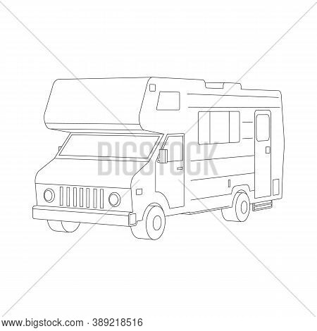 Isometric Traveler Truck Camper Thin Line. 3d Camping Rv Trailer Family Caravan Outline Icon. Rv Tra