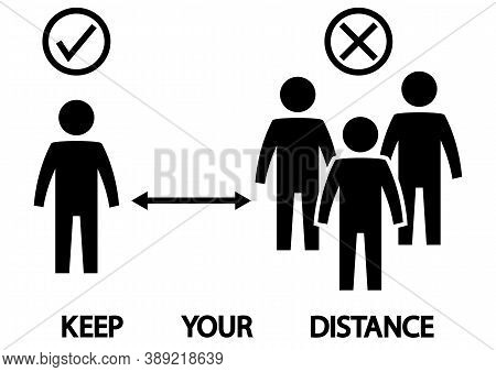 Social Distancing Icon. Keep The 2 Meter Or 6 Feet Distance. Avoid Crowds. Safe Distance. Coronaviru