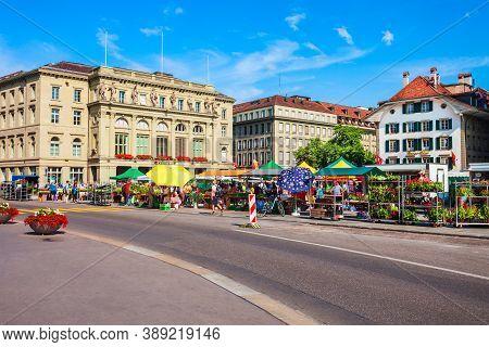 Bern, Switzerland - July 13, 2019: Local Farmer Market Near The Kantonalbankgebaude Bank Building At
