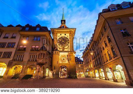 Bern, Switzerland - July 13, 2019: Zytglogge Is A Landmark Medieval Clock Tower In Bern City In Swit