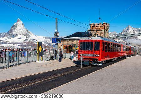 Zermatt, Switzerland - July 16, 2019: Train Near The Gornergrat Bahn Railway, A Mountain Rack Railwa