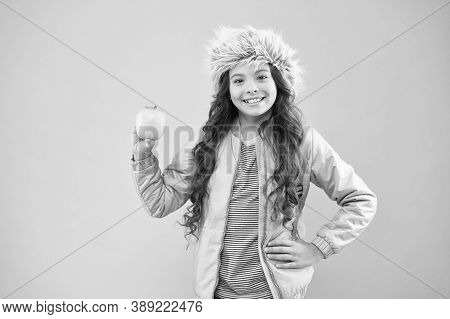 Lunch Time. Winter Semester. Teen With Backpack. Healthy Snack. Modern Education. Stylish Schoolgirl