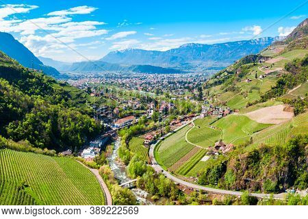 Bolzano And Dolomite Mountains Aerial Panoramic View. Bolzano Is The Capital City Of The South Tyrol