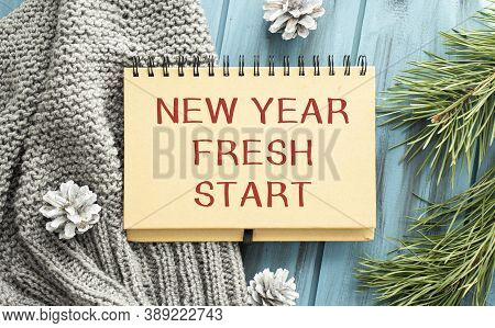 Notepad With Wish List And Coffee Cup. New Year's Hope And Resolution Concept - New Year, Fresh Star