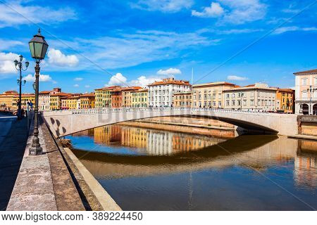 Ponte Solferino Bridge And Colorful Houses At The Arno River Waterfront In The Centre Of Pisa City I