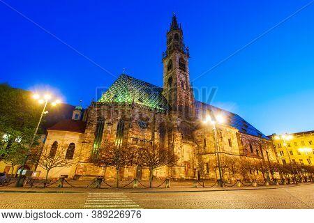 Bolzano Cathedral Or Duomo Di Bolzano Is Located In Bolzano City In South Tyrol, Italy
