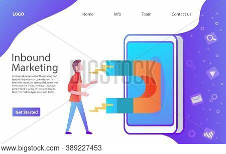 Inbound Marketing Attracting Online Customers. Magnet Attracts The Young People Guy In The Smartphon