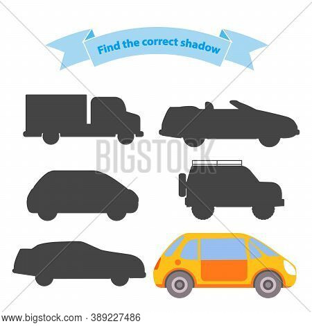 Find The Correct Shadow Transport.educational Game For Children Car, Truck, Off-road Vehicle, Suv, S