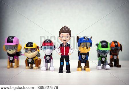 Minsk, Belarus - September 1, 2020: Paw Patrol Team Team Standing In A Row. Miniatures Of Heroes Of