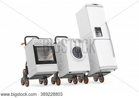 Hand Trucks With Fridge, Washing Machine And Gas Stove. Delivery Of Household Kitchen Appliances Con