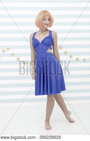 Woman Playful Mood Having Fun. Fun And Entertainment. Girl Bob Wig Posing Striped Background Of Stud