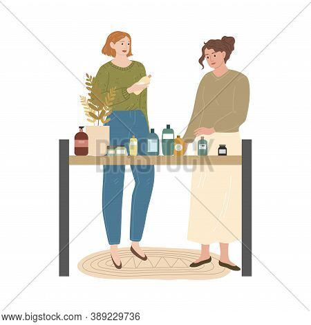 Girls Comparing And Choosing Bodycare And Home Products In Cosmetics Store