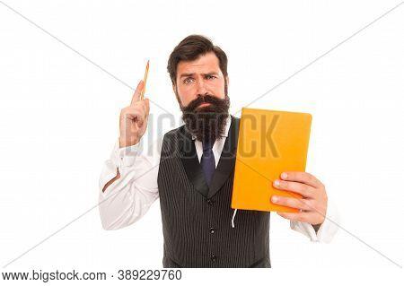 Reading Broadens Imagination. Male Teacher Raise Pen Holding Book. Bearded Man Teach Writing And Rea