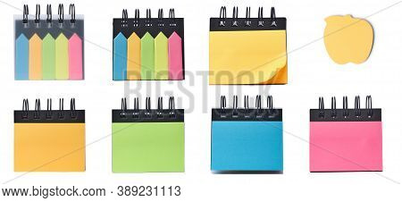Multicolor Memo Notes And Colorful Sticky Bookmarks, Product Isolated On White Background. Set Of Di