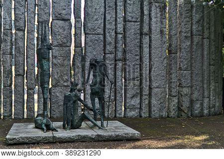 Dublin, Ireland - September 27, 2020: Edward Delaney's Famine Memorial At St Stephen's Green Park In