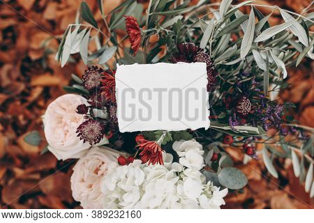 Fall Wedding, Birthday Mockup Scene. Floral Bouquet With Olive Branches, Mums, Hydrangea And Pink Ro