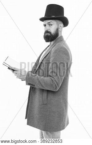 Recite Verses. Poet Or Writer. Author Of Novel. Inspired Bearded Man Read Book. Poetry Reading. Lite