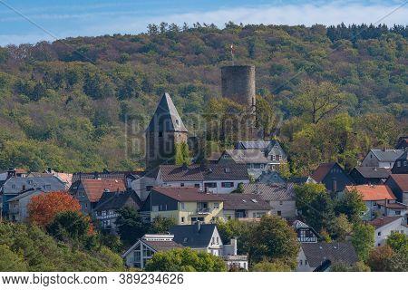 View Of Altweilnau And Altweilnau Castle Ruins, Hesse, Germany