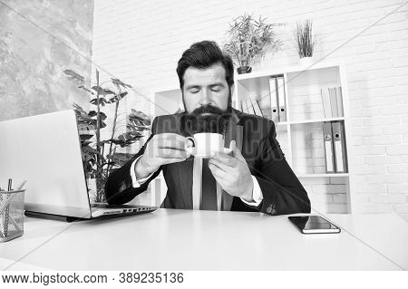 Coffee Aroma Restores Brain Activity. Bearded Man Smell Aroma Of Hot Cup. Enjoying Coffee Aroma. Aro