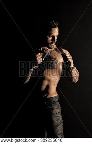 Sexual Desire And Attraction. Muscular Man Use Leather Belt. Fetish. Bdsm Love Game. Sportsman Bare