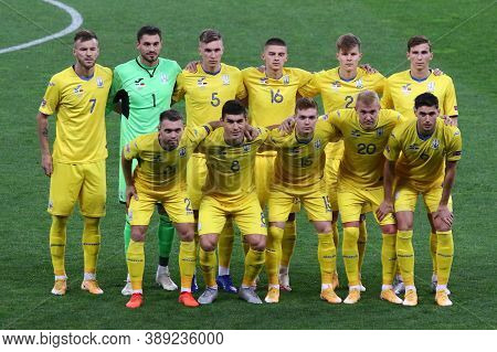 Kyiv, Ukraine - October 10, 2020: Players Of Ukraine National Team Pose For A Group Photo Before The