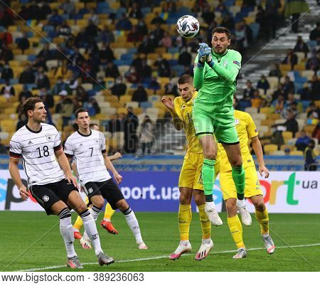 Kyiv, Ukraine - October 10, 2020: Goalkeeper Georgiy Bushchan Of Ukraine In Action During The Uefa N
